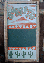 hand-painted sign for OASIS brito
