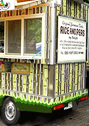 painting food truck for RICE AND PEAS